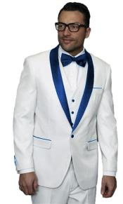 Alberto Nardoni White Tuxedo Dark Navy Blue Jacket Wedding ~ Prom Vested Suit