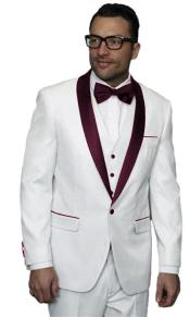 Mens Alberto Nardoni White and Burgundy ~ Maroon ~ Wine Jacket Wedding
