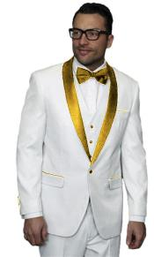 2020 New Formal Style White and Gold Tuxedo Jacket Vested Wedding ~ Prom Suit
