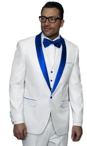Mens Alberto Nardoni White Tuxedo Royal Blue