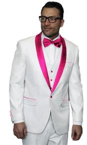 Alberto Nardoni White Tuxedo Pink Tux Jacket Vested Wedding ~ Prom Wedding ~ Prom 3 Piece Suit