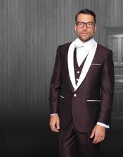 Single Breasted Shawl Lapel Burgundy Tuxedo White