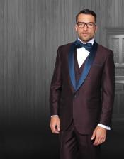 Burgundy Tuxedo Shawl Lapel Single Breasted Navy Blue