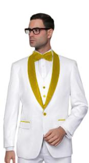 ~ Wedding ~ Groom Attire White And Gold Tuxedo Suit Vest