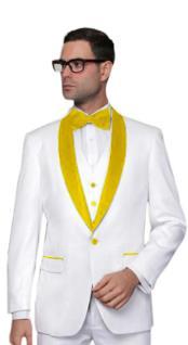 Mens Alberto Nardoni White Tuxedo Yellow