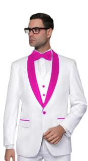 ~ Wedding ~ Groom Attire White And Hot Pink ~ Fuchsia Tuxedo Suit Vest + Pants Jacket