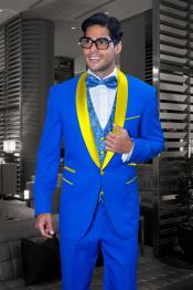 Royal Blue and Yellow Tuxedo Jacket & Pants