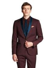 Shawl Lapel Single Breasted Burgundy/Navy ~ Wine ~ Maroon Suit