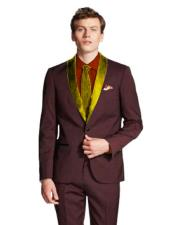 Shawl Lapel Single Breasted Maroon/Gold ~ Wine ~ Maroon Color Tuxedo J