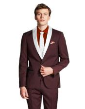 Lapel Single Breasted Maroon/White