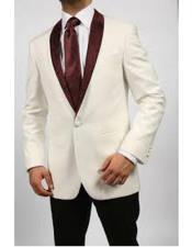 Ivory/Burgundy ~ Cream Tuxedo