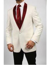 Blazer Ivory/Maroon ~ Cream Tuxedo