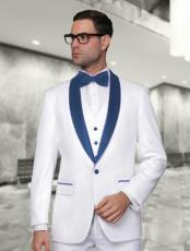 Alberto Nardoni White and Dark Navy BlueVested Shawl Lapel Tuxedo Wedding /