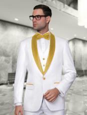 Mens White and Gold Vested Shawl Lapel Tuxedo Wedding / Prom Fashion Two Toned Suit Jacket &