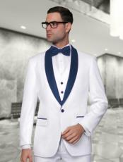 Mens White and Dark Navy Blue Vested Shawl Lapel Tuxedo Wedding /