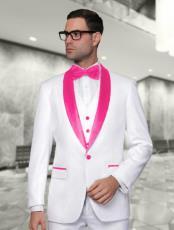 Mens White and Hot Pink ~ Fuchsia Vested Shawl Lapel Tuxedo Wedding / Prom Fashion Two Toned