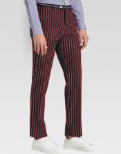 Mens Slacks Red Ganagster Chalk Striped