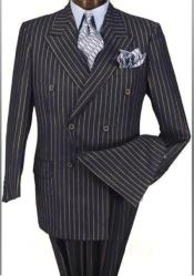 Alberto Nardoni Dark Navy Blue and Gold Pinstripe ~ Stripe Double