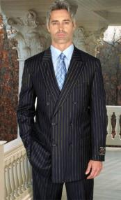Alberto Nardoni Dark Navy Blue and Gold Pinstripe ~ Stripe Double Breasted Super 150s Wool Suit Regular
