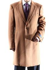 Dress Coat Caravelli Single Breasted  Two Button 3/4 Length Camel Topcoat