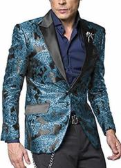 Nardoni Tuxeod Dinner Jacket Blazer Sport Coat Paisley Floral Pattern Mix Two Toned Shiny Jacket Teal Tiffany