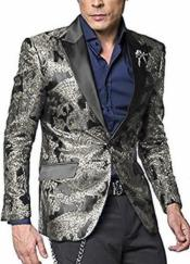 Nardoni Shiny Jacket Tuxeod Dinner Jacket Blazer Sport Coat Paisley Floral Pattern Mix Two Toned Silver Grey