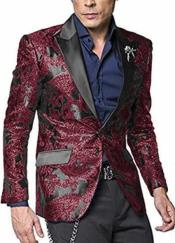 Nardoni Shiny Jacket Tuxeod Dinner Jacket Blazer Sport Coat Paisley Floral Pattern Mix Two Toned Burgundy ~