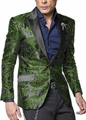 Nardoni Shiny Jacket Dark Green ~ Hunter Tuxeod Dinner Jacket Blazer Sport Coat Paisley Floral Pattern Mix