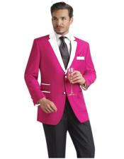 Mens Two Button Suit & Tuxedo & Blazer White Lapel Single Breasted Hot Pink Polyester