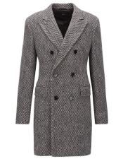 DBCoat Mens Dress Coat Double Breasted Gray Herringbone Tweed Six Button Overcoat