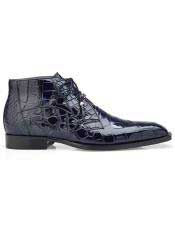 Mens  Blue Three Eyelet Lacing Cap Toe Authentic Genuine Skin Italian