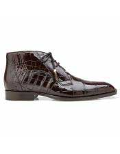 Mens Authentic Brown Cap Toe Alligator Lace Up Authentic Genuine Skin Italian