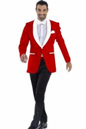 Mens Cheap Priced Blazer Jacket For Men Dark Red ~ White Two