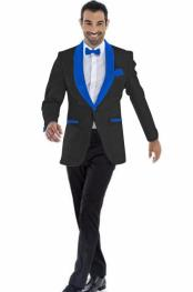 Blazer Black ~ Royal Blue Two Toned Tuxedo Dinner Jacket Perfect For Prom Wedding & Groom