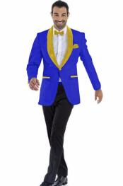 Blazer Dark Royal ~ Gold Two Toned Tuxedo Dinner Jacket Perfect For Prom Wedding & Groom