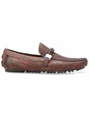 Authentic Brown Calf ~ Leather Slip On Authentic Genuine Skin Italian