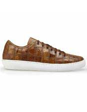 Authentic Lace Up Brown Crocodile Authentic Genuine Skin Italian Tennis Dress Sneaker Shoes