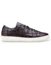 Authentic Lace Up Burgundy Crocodile Authentic Genuine Skin Italian Tennis Dress Sneaker Shoes