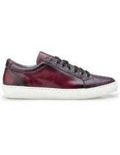 Authentic Lace Up Ostrich Burgundy Authentic Genuine Skin Italian Tennis Dress Sneaker Shoes