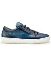 Authentic Blue Lace Up Ostrich Authentic Genuine Skin Italian Tennis Dress Sneaker Shoes