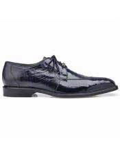 Authentic Belvedere Brand Blue Ostrich Lace Up Shoe