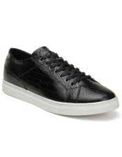 Authentic Lace Up Black Authentic Genuine Skin Italian Tennis Dress Sneaker Shoes