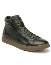 Authentic Genuine Skin Italian Tennis Dress Sneaker Shoes Green Lace Up