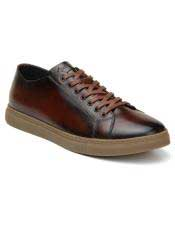 Cognac Authentic Italian Tennis Dress Sneaker Shoes