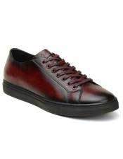 Authentic Burgundy Lace Up Authentic Genuine Skin Italian Tennis Dress Sneaker Shoes