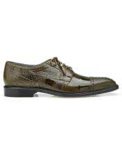 Authentic Belvedere Brand Green Lace Up Ostrich Shoe