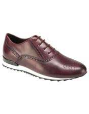 Mens Authentic Genuine Skin Italian Tennis Dress Sneaker Burgundy Calf ~ Leather