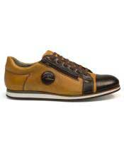 Mens Authentic Genuine Skin Italian Tennis Dress Sneaker Brown Lace Up Calf