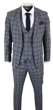 Mens Donald Grey and Navy Check Vintage style Suit
