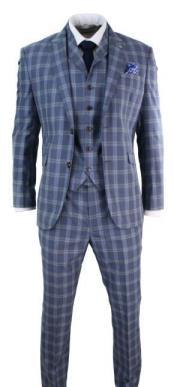 Mens Ronnie Blue Check Vintage Smart style Three Piece Suit